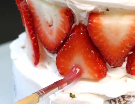 Si vous mettez des fruits frais, recouvrez les de confiture d'abricot