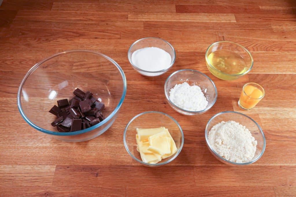 Coeur coulant chocolat - Ingrédients pour le biscuit au chocolat
