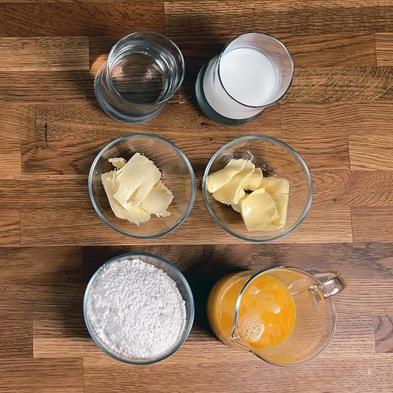 Pâte à choux ingrédients