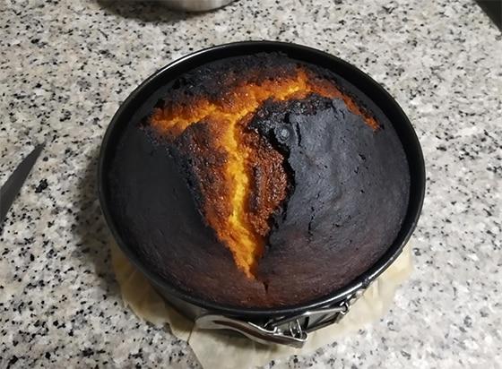 Gâteau raté brulé